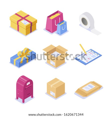 A set of isometric objects on the topic of mail. Paper boxes with a letterhead and scotch for packaging. Festive packaging with a bow for a gift. Isolated 3d illustration.