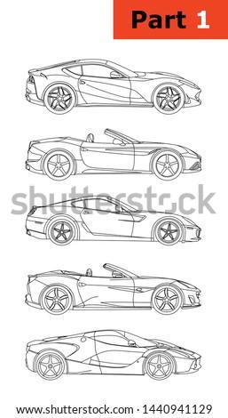 A set of Italian sports cars (part 1) Top to bottom (Ferrari 812 SuperFast, Ferrari California T, Ferrari 599 GTB Fiorano, Ferrari Portofino,LaFerrari).