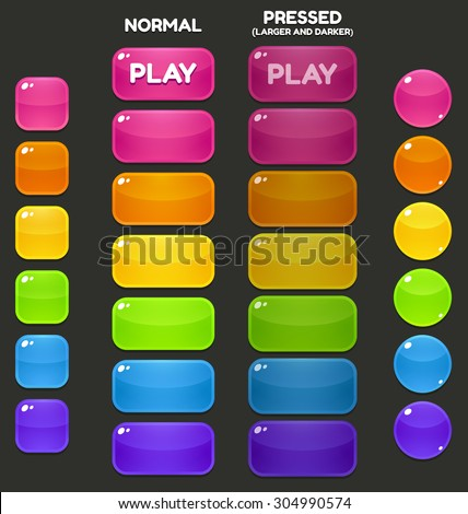 A set of juicy, vibrant game buttons in different shapes and colors.