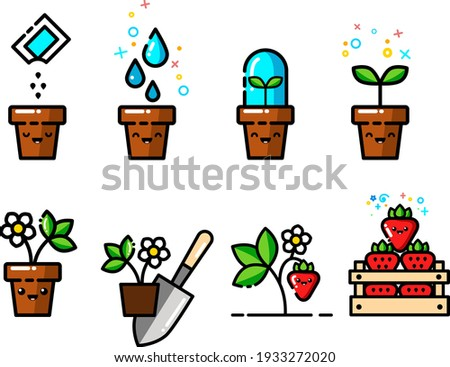 A set of kawaii icons growing strawberries from seeds in a pot, cute fun kawaii strawberries, a box of strawberries, a shovel, planting strawberries, the growth process. fun vector illustration.
