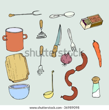 A set of 15 kitchen utensils and food