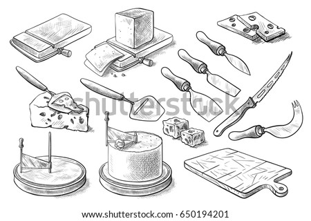 A set of knives for cheese. Vector set for cutting and serving cheese. Blades for slicing cheese