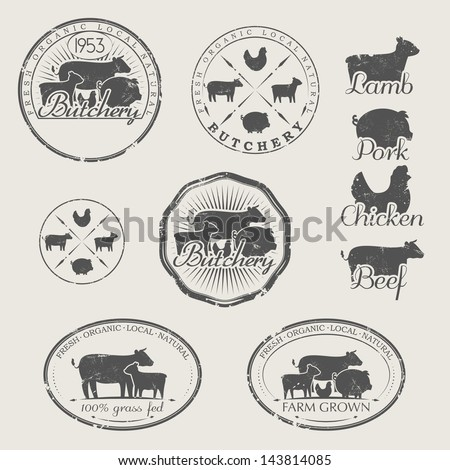 a set of labels for butchery....
