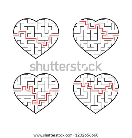 A set of labyrinths of hearts. Game for kids. Puzzle for children. Labyrinth conundrum. Flat vector illustration isolated on white background.