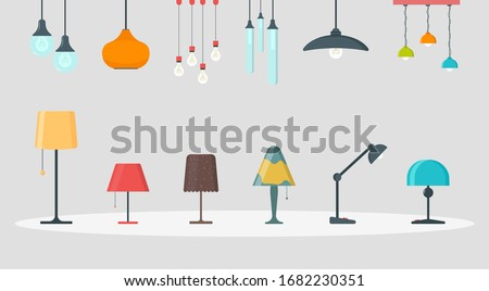 A set of lamps on a white background. Furniture chandelier, floor and table lamp in flat cartoon style. Chandeliers, illuminator, flashlight - elements of a modern interior.Vector illustration,EPS 10. Photo stock ©