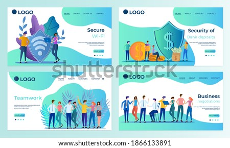 A set of landing page templates.Secure WI-FI,Bank Deposit Protection, Teamwork, Business negotiations.Templates for use in mobile app development.Flat vector illustration.