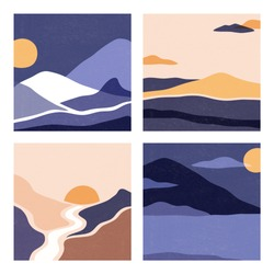 A set of landscapes in a square format, nice colors. Vector illustration with mountains, deserts, sun. Abstract landscapes with space for text