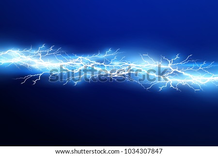 A set of lightning Magic and bright light effects. Vector illustration. Discharge electric current. Charge current. Natural phenomena.