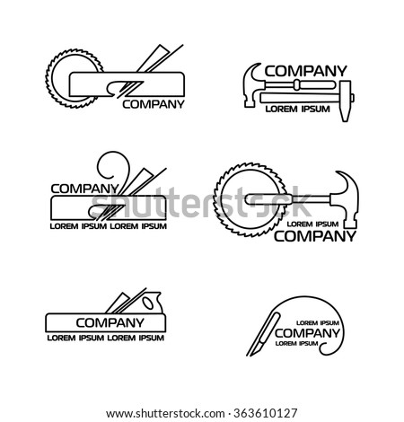 A set of logos, emblems of joiner's tools. Good to use for the logo or symbol of your company. Vector illustration in modern line style. Easy to edit or change color