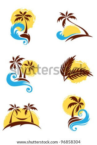 a set of logotypes   palm trees