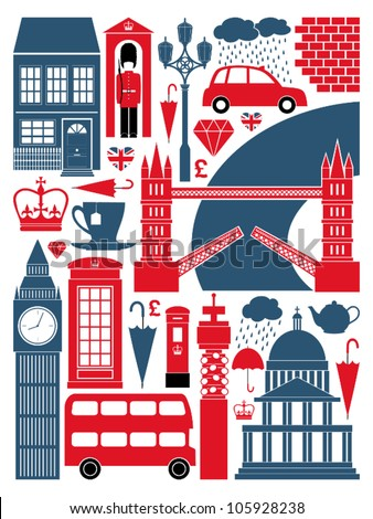 A set of London symbols and landmarks.