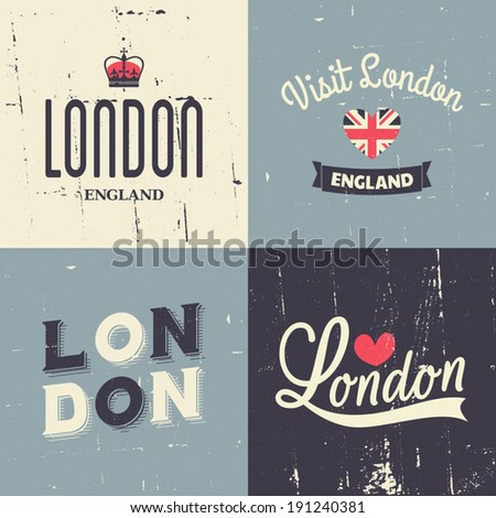 a set of london themed vintage