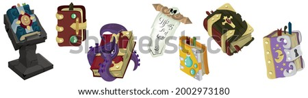 A set of magic books. Witchcraft. Vector illustration for fairy tales, games, icons. A magic spell. Isolated 3d vector illustration. Occult objects for mystical rituals. A mystical object. The scroll.