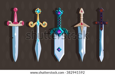 a set of magical swords with