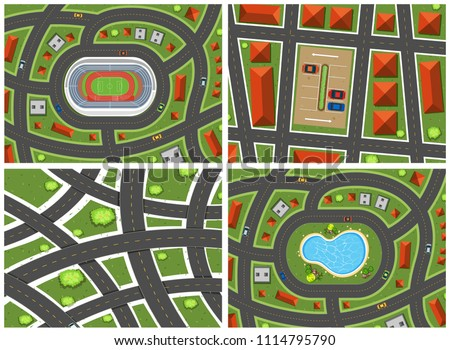 A Set of Map Ariel View illustration