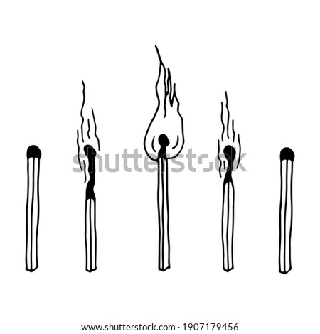 A set of matches. A whole and burning match with fire, a match with coal, with smoke. Vector illustration in doodle outline style on a white background. Foto d'archivio ©