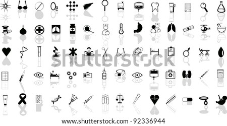 A set of medical icons with reflection