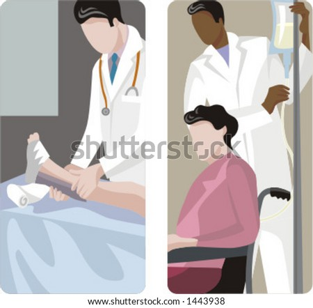 A set of 2 medical illustrations. 1) Orthopedic applying plaster to a broken leg.   2) Medic helping patient in wheelchair.