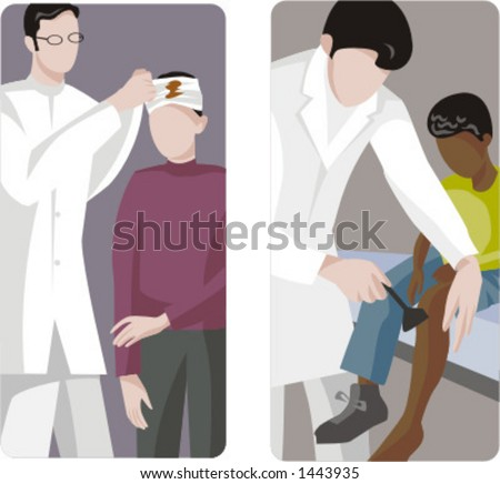 A set of 2 medical illustrations. 1) Pediatric applying bandage. 2) Pediatric cleaning a wound.