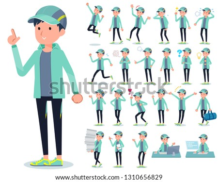 A set of men in sportswear with who express various emotions.There are actions related to workplaces and personal computers.It's vector art so it's easy to edit.