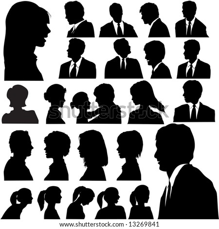 A set of men & women faces as head and shoulder profile silhouettes of people.