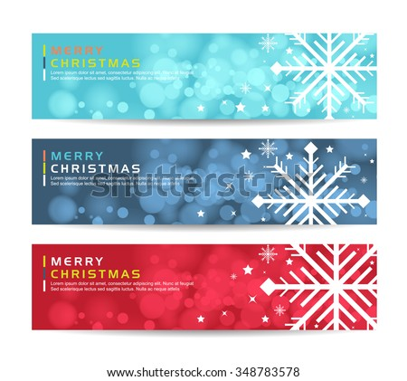 a set of merry christmas happy new year fancy winter snowflake shape banners ideal for