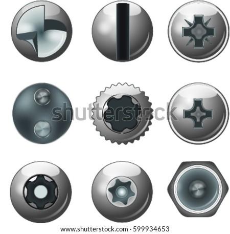 A set of metal sliver screws and bolt caps for your designs