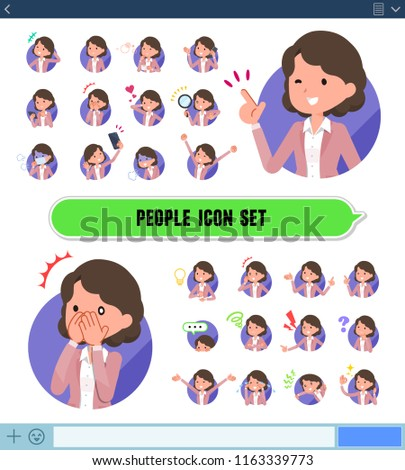A set of middle women with expresses various emotions on the SNS screen.There are variations of emotions such as joy and sadness.It's vector art so it's easy to edit.