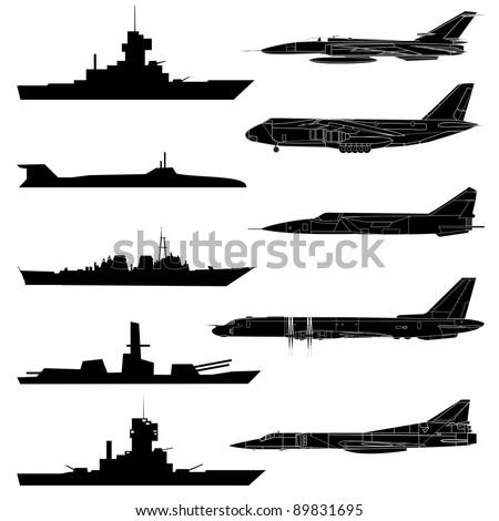 A set of military aircraft, ships and submarines.