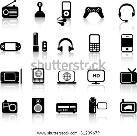 A set of modern icon illustrations of electronic devices