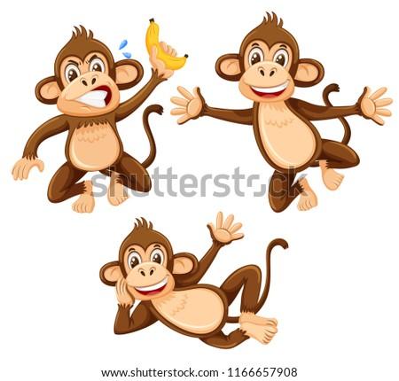 stock-vector-a-set-of-monkey-on-white-background-illustration
