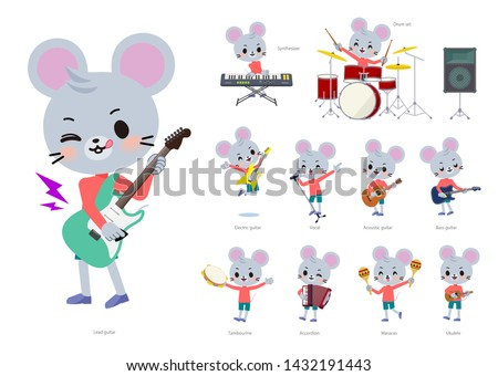 A set of mouse boy playing rock 'n' roll and pop music.There are also various instruments such as ukulele and tambourine.It's vector art so it's easy to edit. Foto stock ©