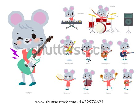 A set of mouse girl playing rock 'n' roll and pop music.There are also various instruments such as ukulele and tambourine.It's vector art so it's easy to edit. Foto stock ©
