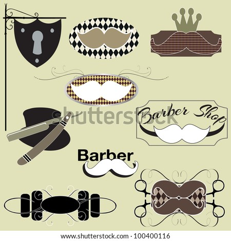 A set of moustache and other barber shop designs