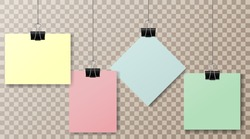 A set of multicolored pieces of paper and office clips on a transparent background. Clothespin on a transparent background. Colored pieces of paper. Set.Vector illustration