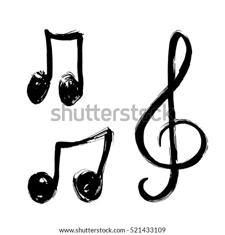 A set of music notes icon. Music note background. Hand drawn music notes vector Illustration
