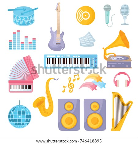 A set of musical instruments. guitar, headphones, drums, harp, disco ball, saxophone, gramophone and other musical elements.
