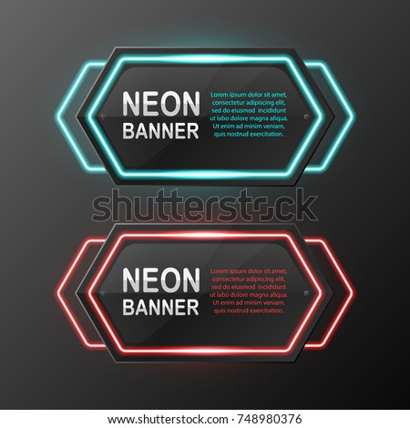 a set of neon banners