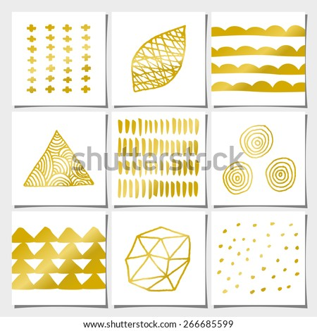 stock-vector-a-set-of-nine-abstract-geometric-designs-in-white-and-golden-brush-strokes-doodles-organic