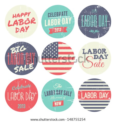 A set of nine distressed vintage Labor Day stickers, isolated on white background.
