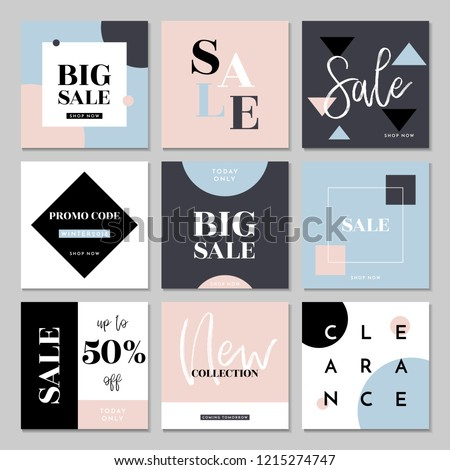 a set of nine editable square