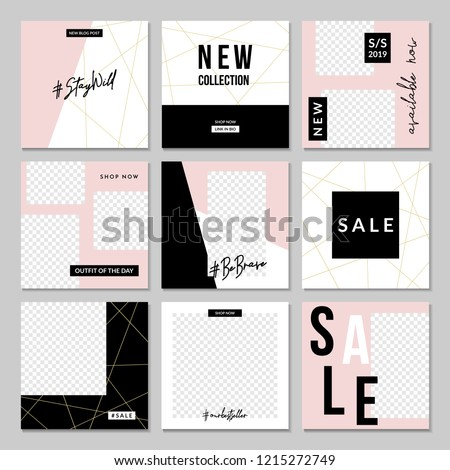 A set of nine editable square templates for social media posts in pastel pink, white, gold and black. Fashion and lifestyle blog templates, web banners, brochure designs with placeholder for photos.