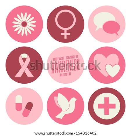 A set of nine flat design Breast Cancer Awareness icons isolated on white.