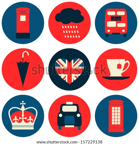A set of nine flat design icons with London symbols isolated on white background.