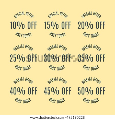 A set of nine labels discounts of ten to fifty percent in steps of five, isolated on yellow background, flat style, vector illustration.