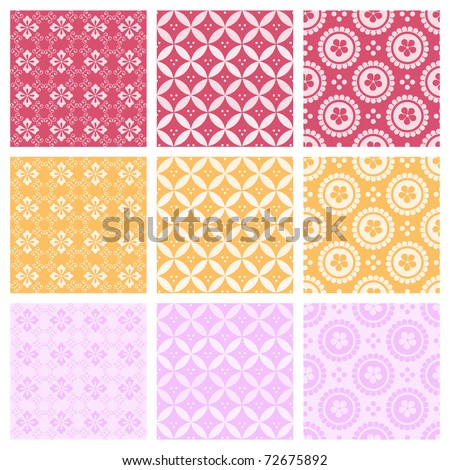 "A set of nine seamlessly tiling patterns in trendy colors. All design are seamless and ""pattern swatches"" included in file, for your convenient use."
