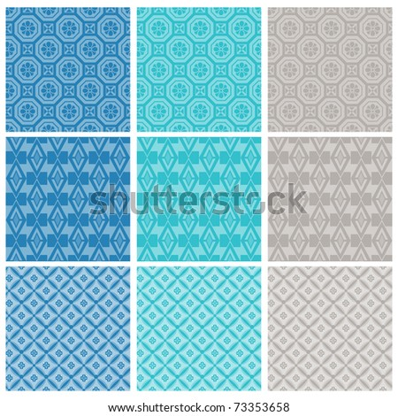 """A set of nine seamlessly tiling patterns in trendy colors. All design are seamless and """"pattern swatches"""" included in file, for your convenient use."""