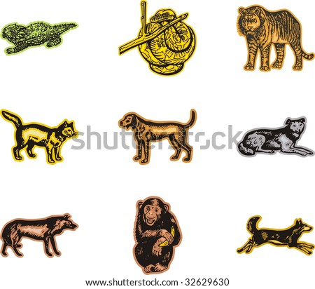 A set of nine vector illustrations of animals.