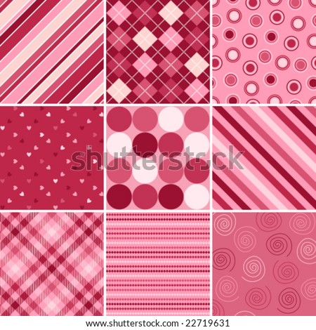 A set of nine vector patterns for Valentines day