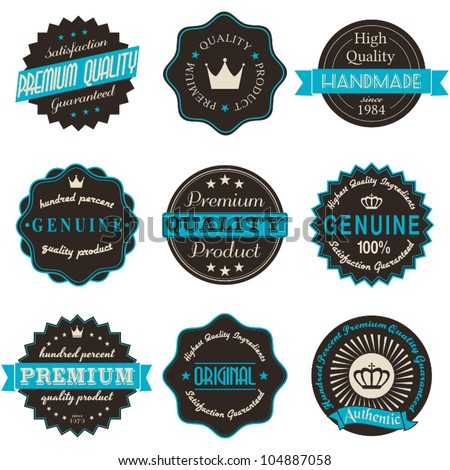 A set of nine vintage labels isolated on white.